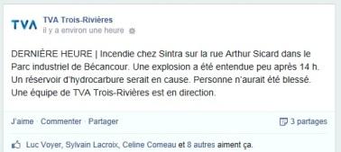 Tiré de la page Facebook de TVA Trois-Rivières